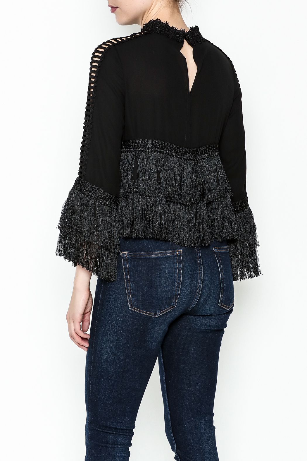 Gracia Layered Fringe Top - Back Cropped Image