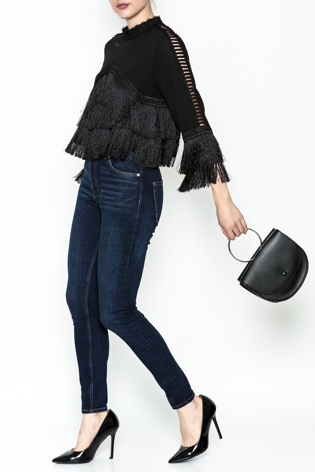 Gracia Layered Fringe Top - Side Cropped Image