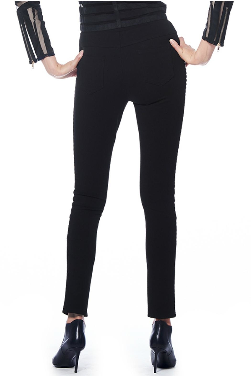 Gracia Leather Detail Pants - Side Cropped Image