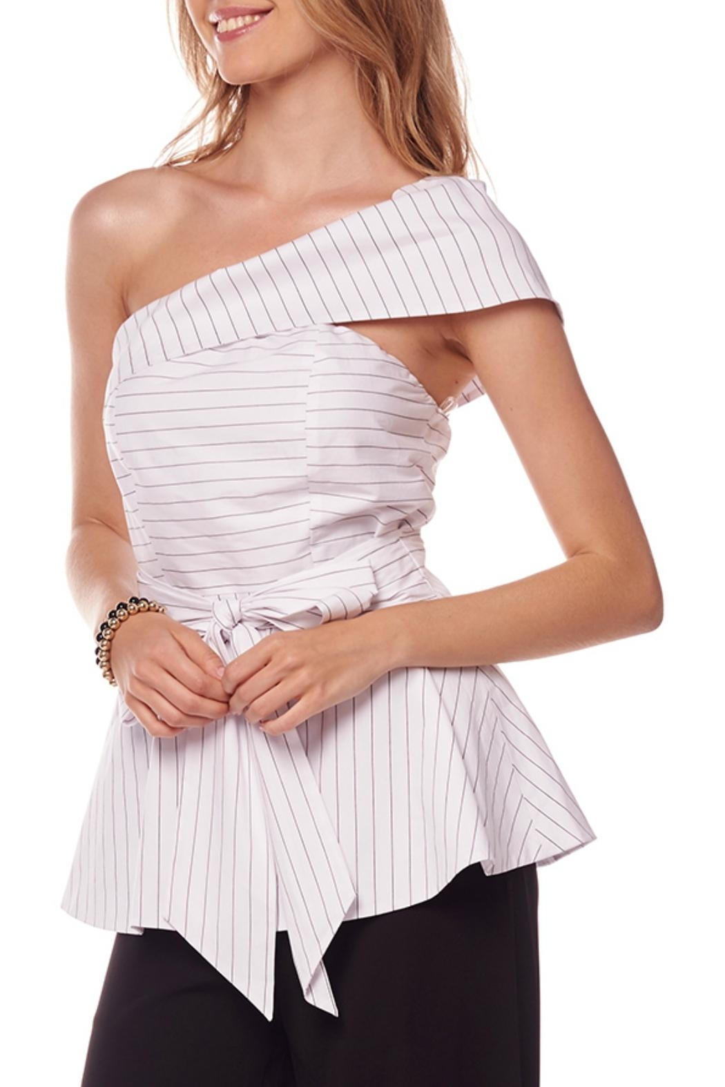 Gracia Pinstripe One Shoulder Top - Front Full Image