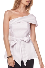 Gracia Pinstripe One Shoulder Top - Product Mini Image