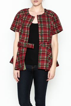 Gracia Short Sleeve Plaid Jacket - Product List Image