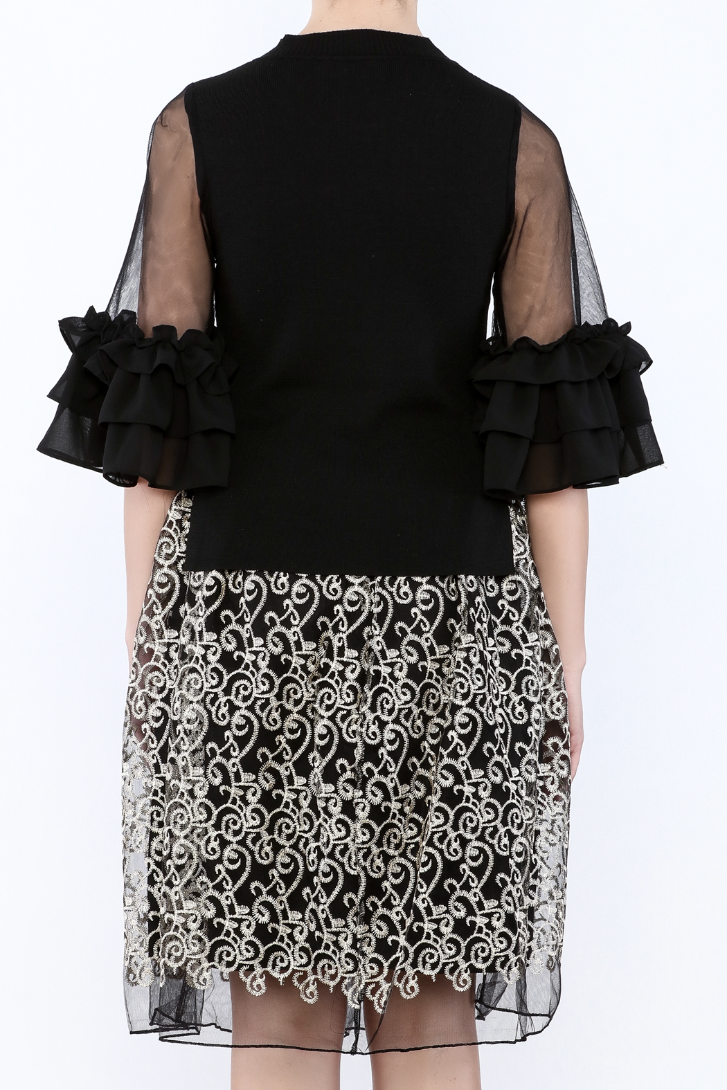 Gracia Ruffle Sleeve Top - Back Cropped Image