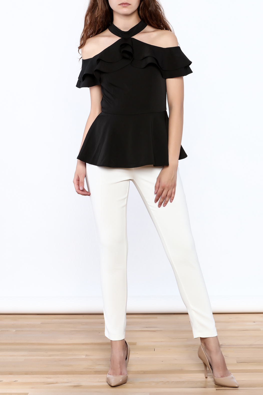 Gracia Ruffle Sleeveless Top - Front Full Image