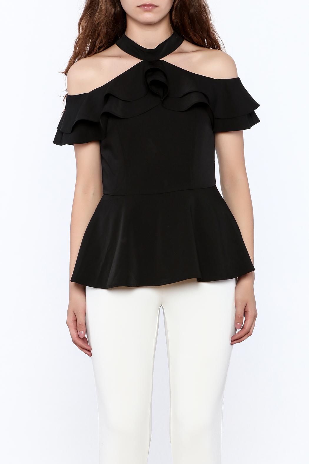 Gracia Ruffle Sleeveless Top - Side Cropped Image