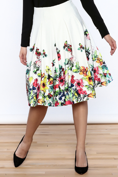 Shoptiques Product: White Floral Pleated Skirt