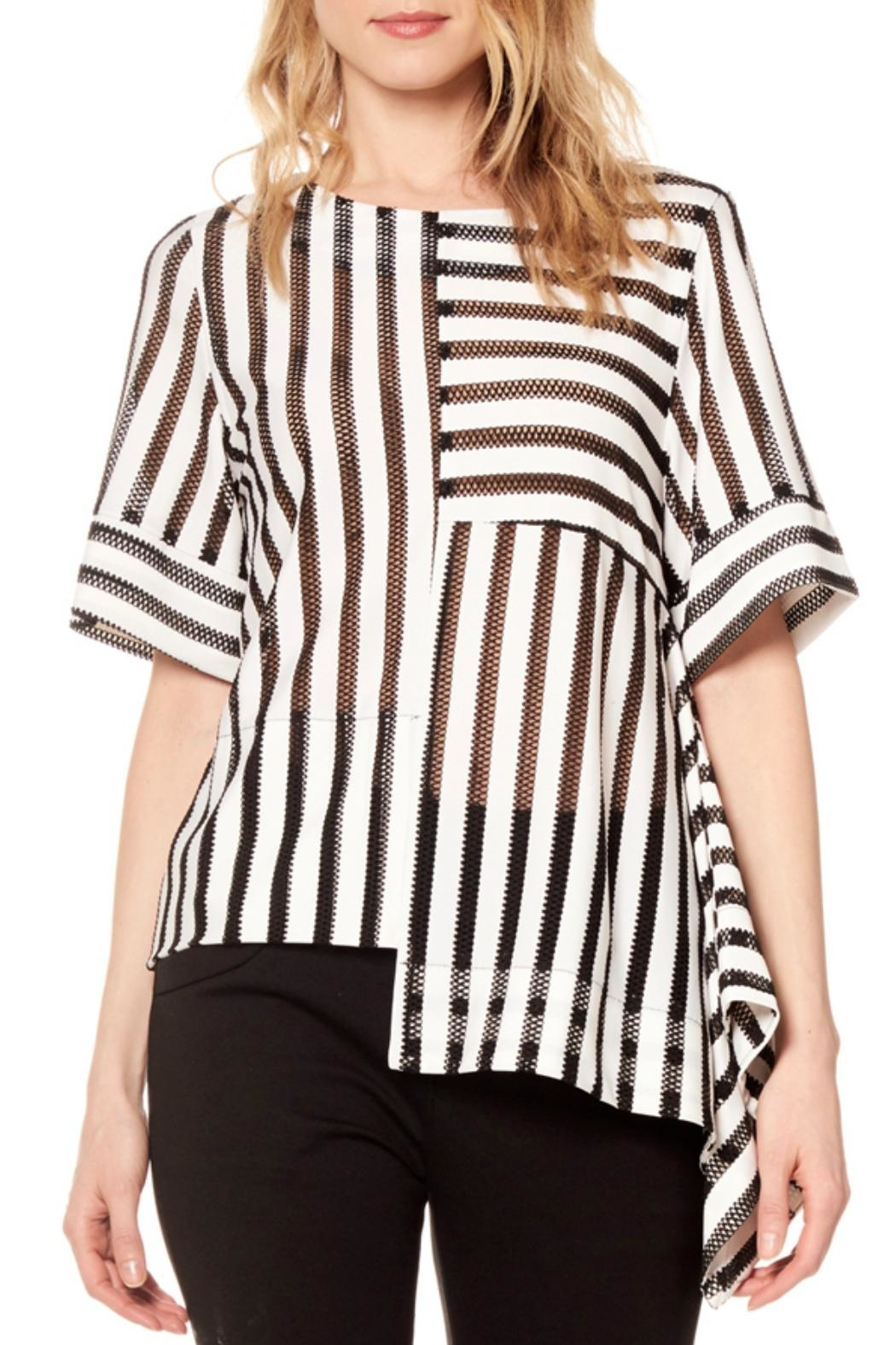 Gracia Striped Asymmetrical Top - Front Cropped Image