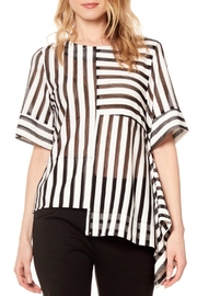 Gracia Striped Asymmetrical Top - Front cropped