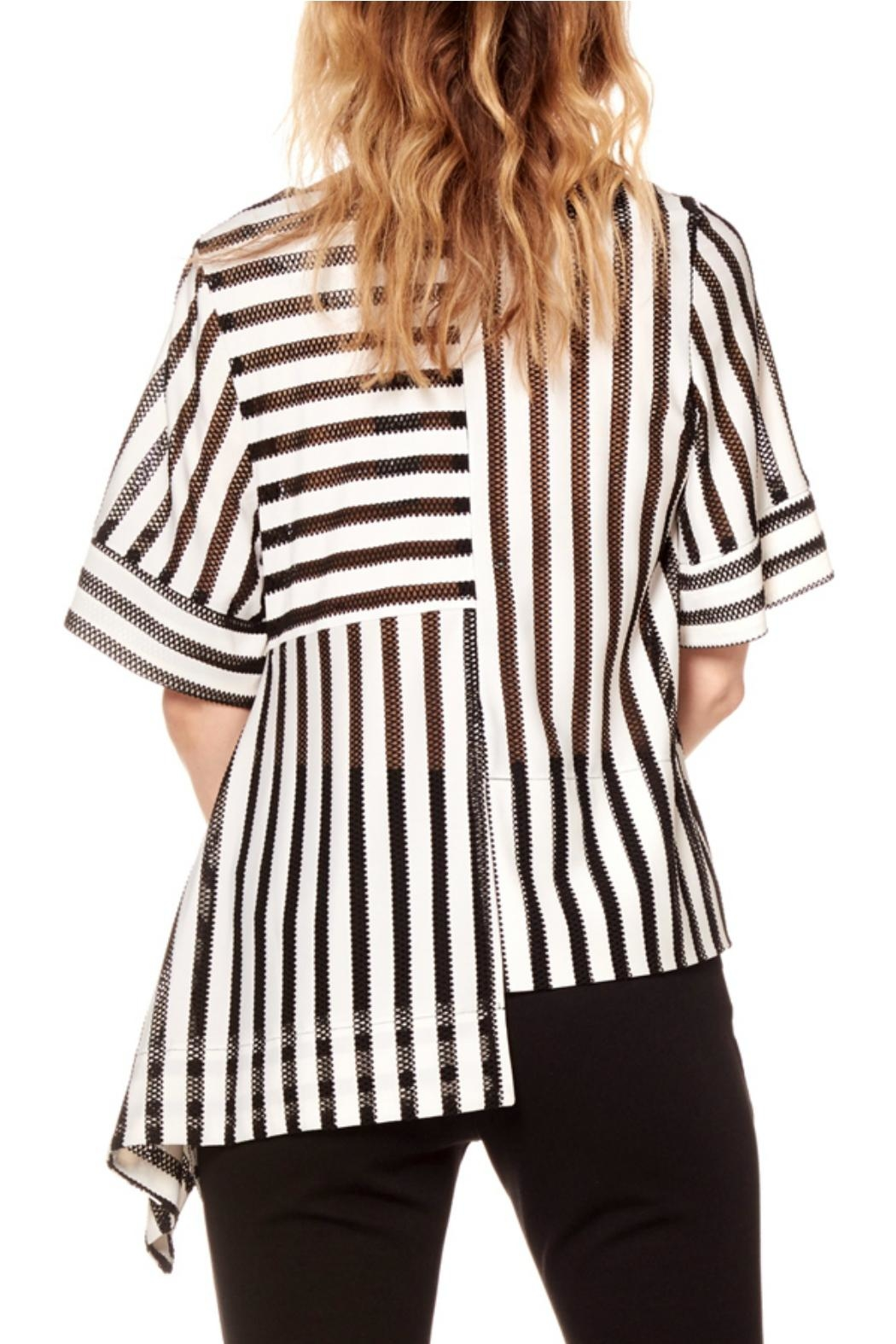 Gracia Striped Asymmetrical Top - Front Full Image