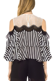 Gracia Striped Cold Shoulder Top - Front full body