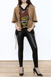 Gracia Ultra-Suede Cape Jacket - Front full body