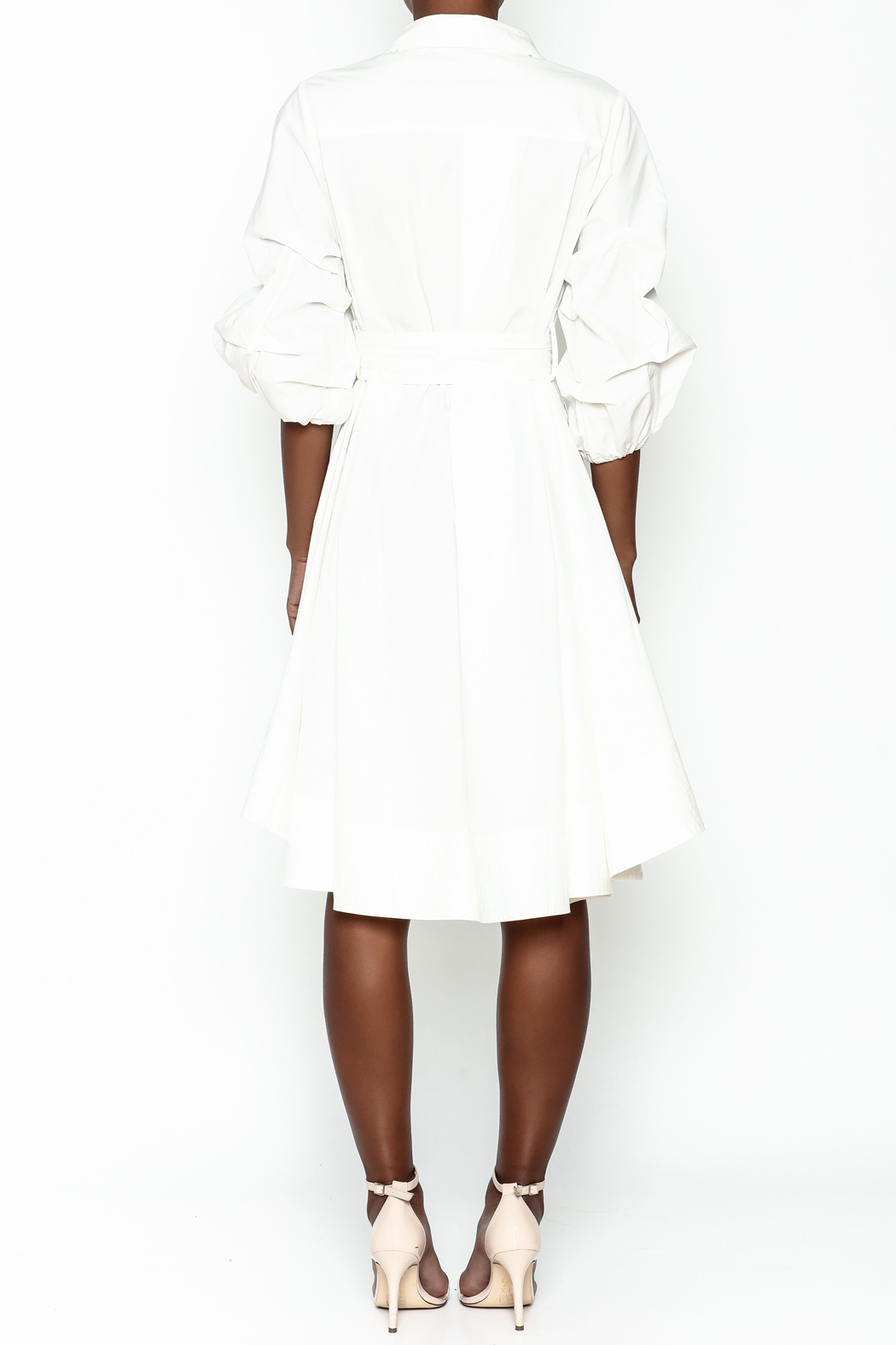 Gracia White High Low Dress - Back Cropped Image