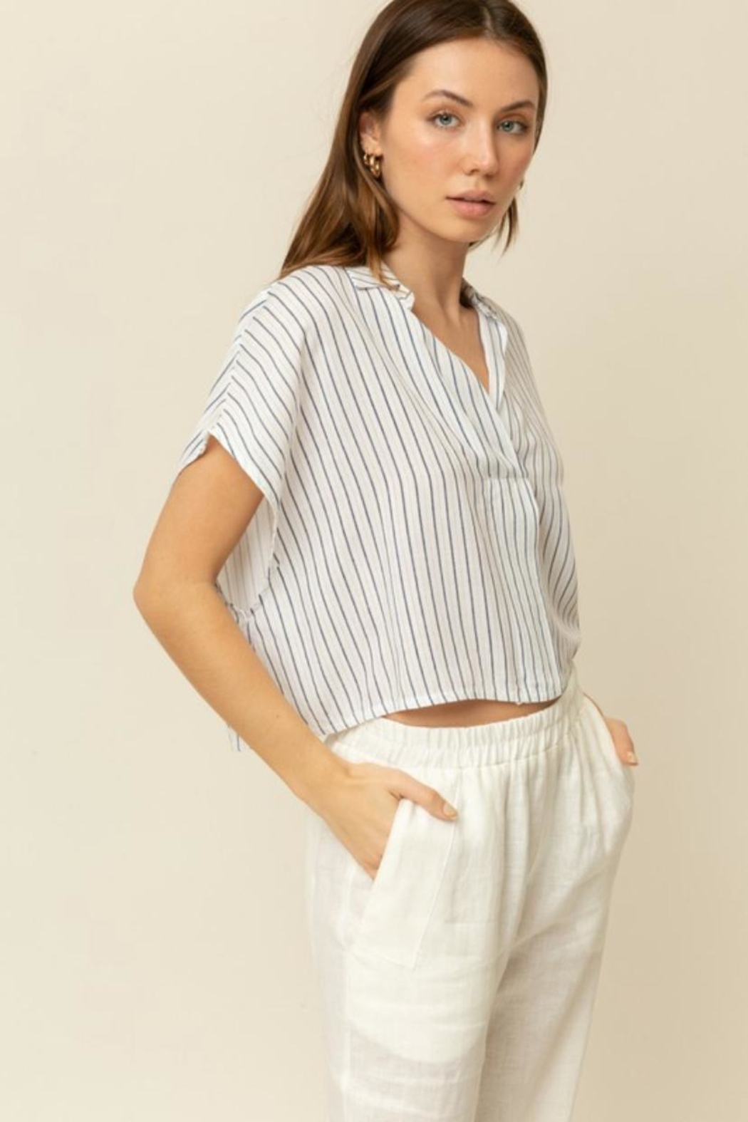 Grade & Gather  Navy Stripe Top - Front Full Image