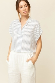 Grade & Gather  Navy Stripe Top - Front cropped