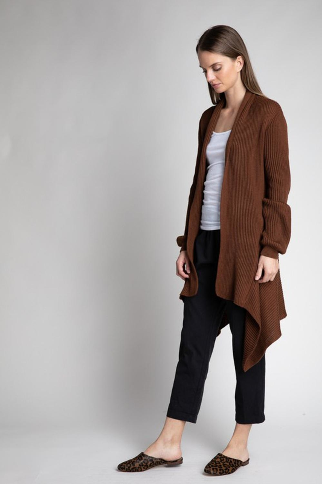 Grade and Gather Bronze Open Cardigan - Side Cropped Image
