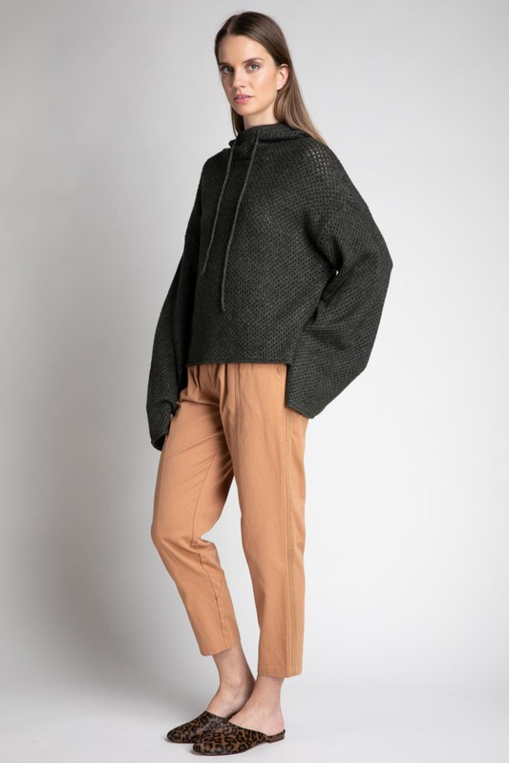 Grade and Gather Knit Olive Sweater - Side Cropped Image