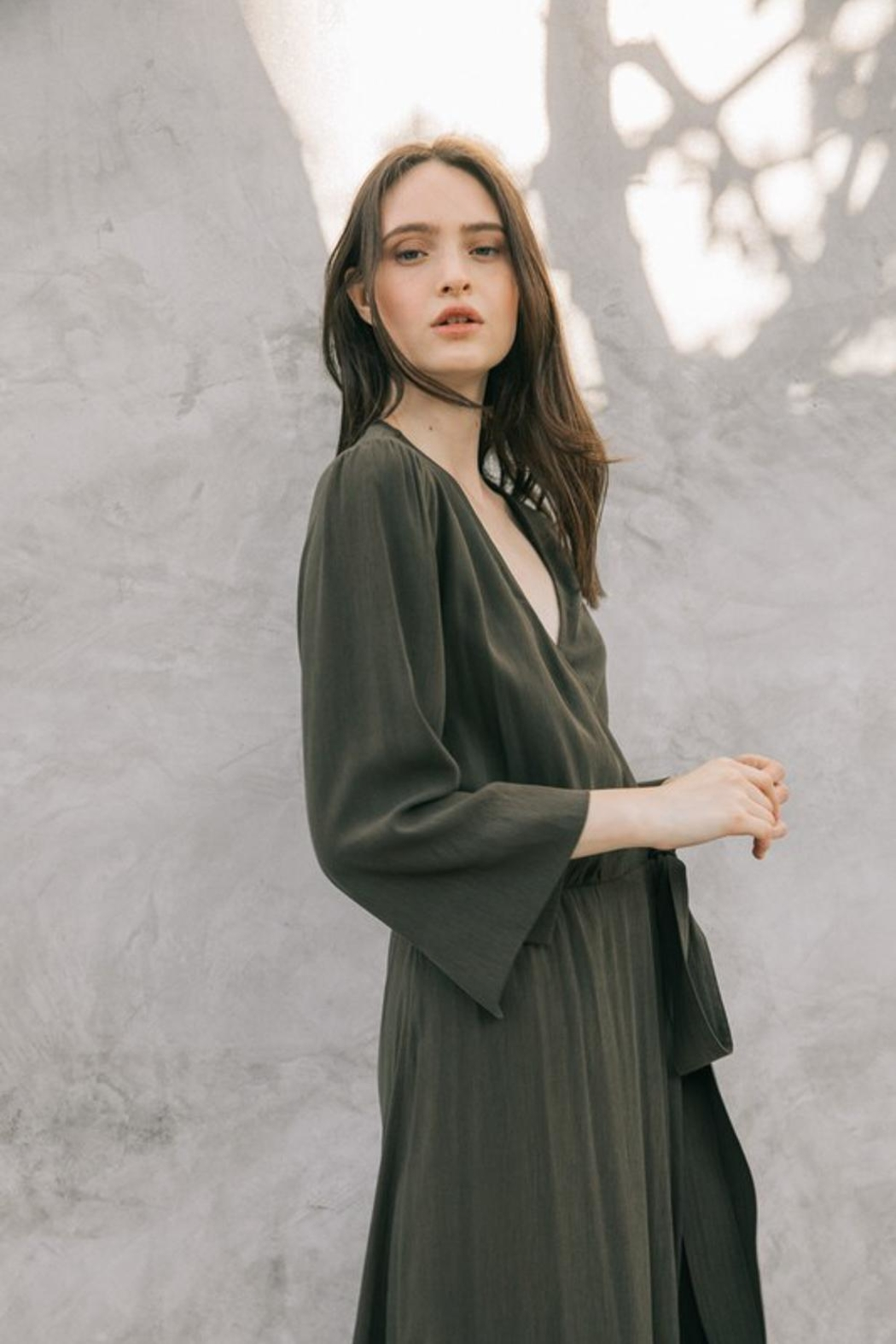 Grade and Gather Olive Wrap Dress - Side Cropped Image