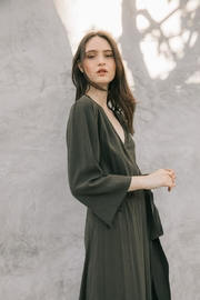 Grade and Gather Olive Wrap Dress - Side cropped
