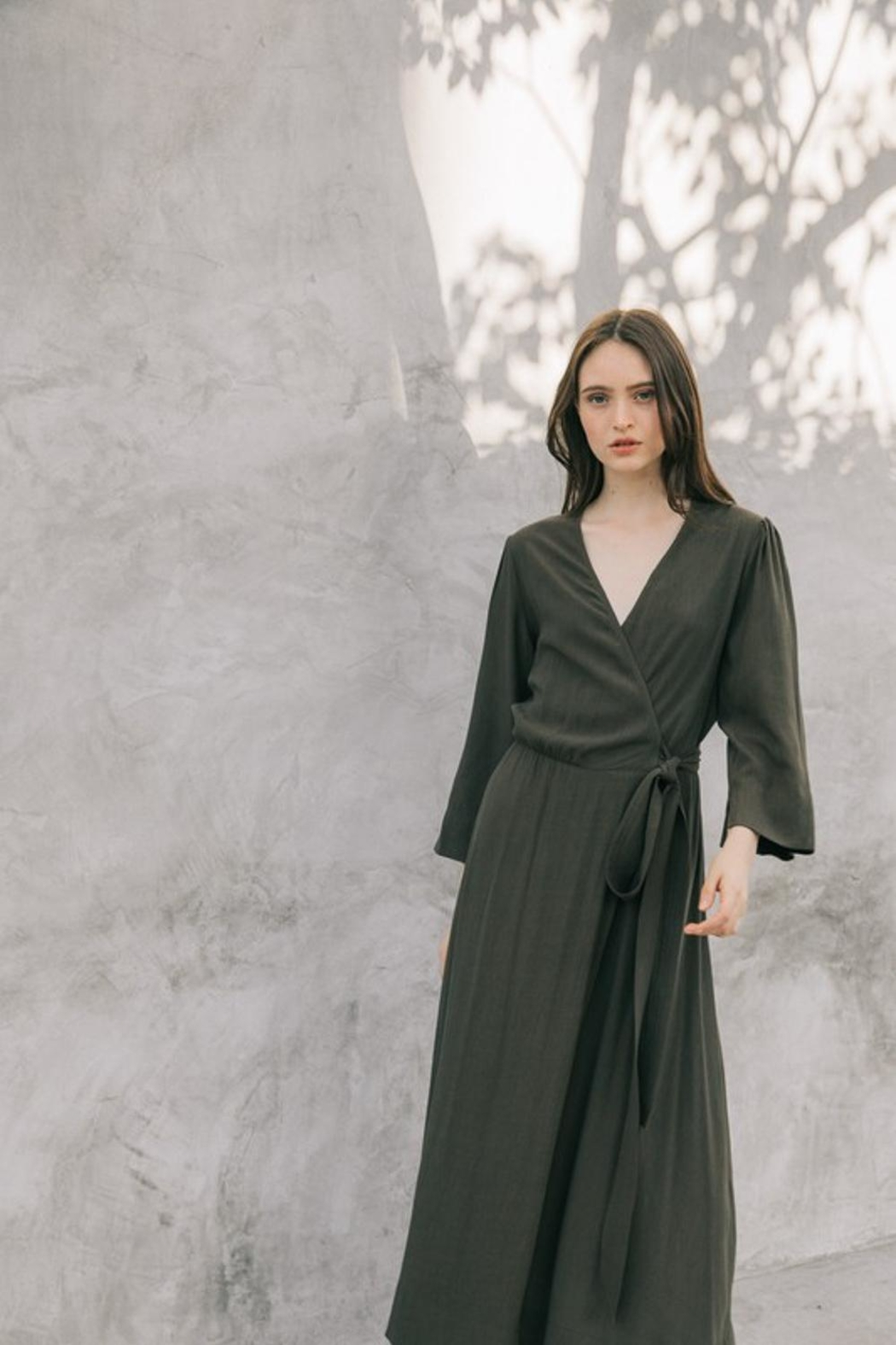 Grade and Gather Olive Wrap Dress - Front Full Image
