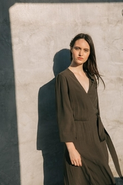 Grade and Gather Olive Wrap Dress - Front cropped