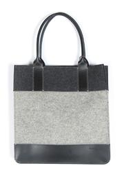 Shoptiques Product: Colorblock Felt Leather Tote - Front cropped