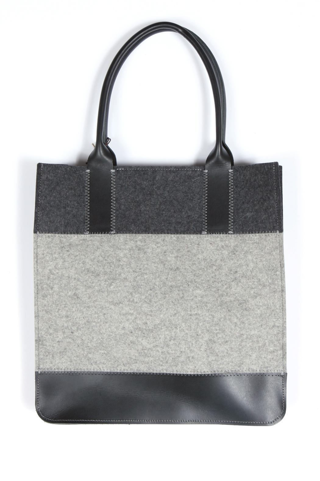 Colorblock Felt Leather Tote