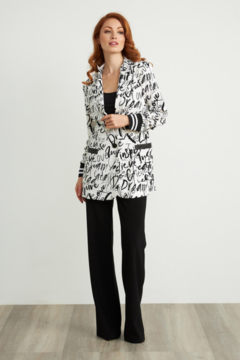Joseph Ribkoff  Graffiti print LOVE blazer with front button and stripe sleeve detail. - Product List Image