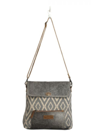 MarkWEST-Myra Bag Grainy Gray Shoulder Bag - Front cropped