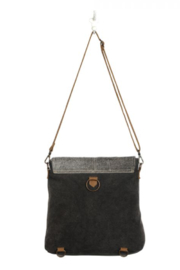 MarkWEST-Myra Bag Grainy Gray Shoulder Bag - Front full body
