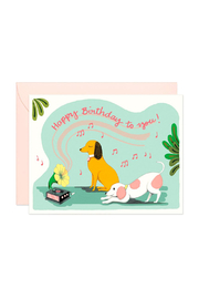 JooJoo Paper Gramophone Dogs Birthday Card - Front cropped
