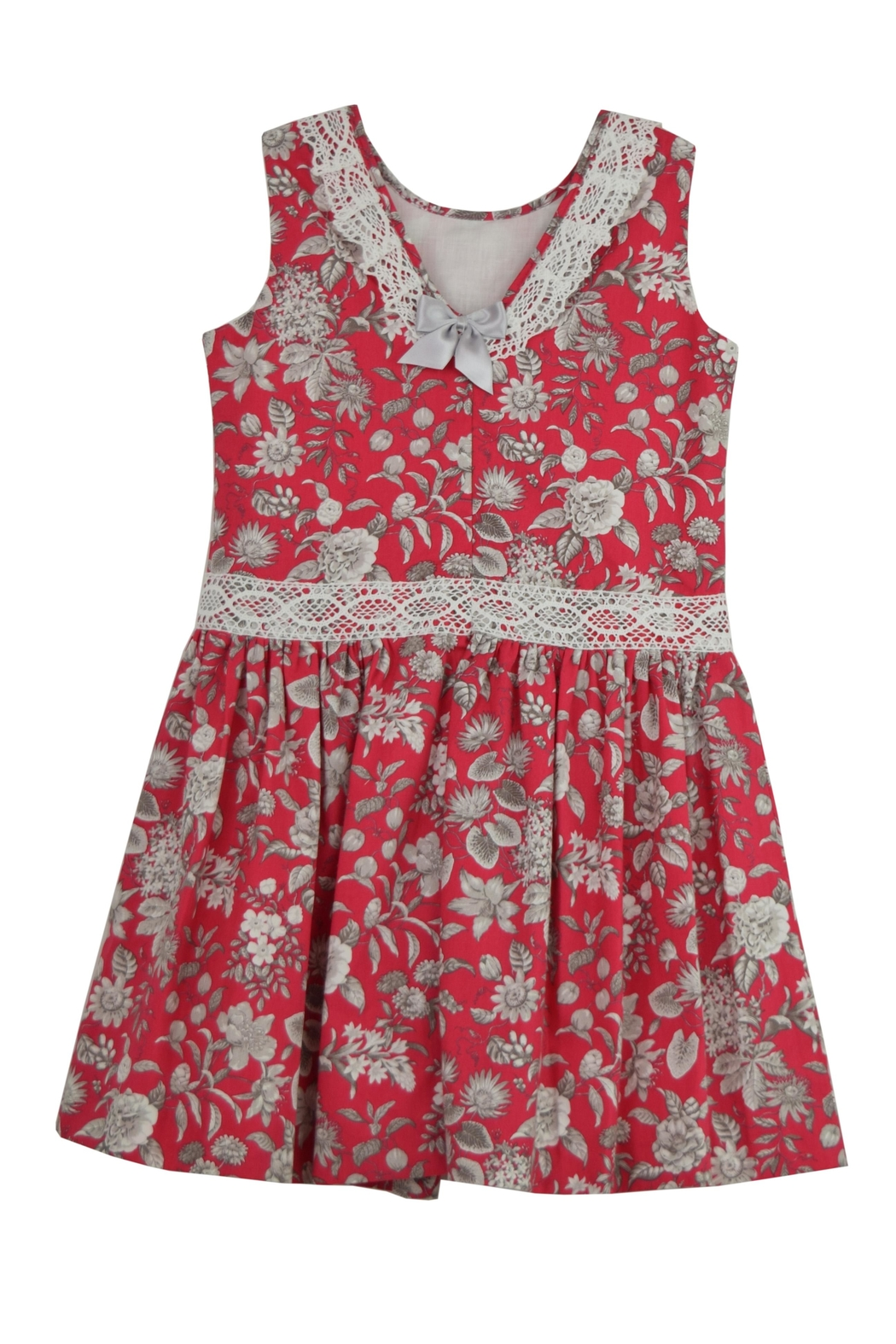Granlei 1980 Red Floral Dress - Front Full Image