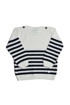 Shoptiques Product: White & Blue Stripes Sweater