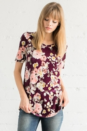 Chris & Carol Grape Floral-Velvet Top - Product Mini Image