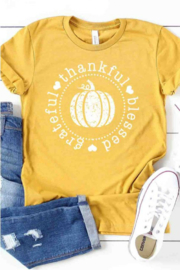 kissed Apparel Grateful Thankful & Blessed Graphic Tee - Product Mini Image