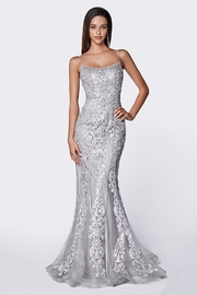 Cinderella Divine Gray Beaded Fit & Flare Long Formal Dress - Front cropped