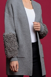 Frank Lyman Gray Cardigan Knit Sweater - Front cropped