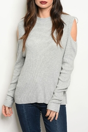 Freeway Gray Cold-Shoulder Sweater - Product Mini Image