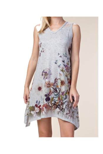 Vocal Gray cotton v-neck sleeveless knit dress with floral print from Colorado by Back In Love — Sh