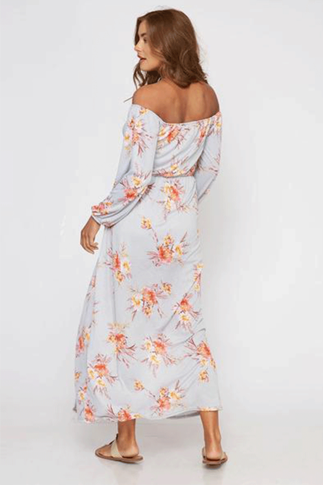 Peach Love Gray Floral Off The Shoulder Maxi - Side Cropped Image
