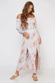 Peach Love Gray Floral Off The Shoulder Maxi - Product Mini Image