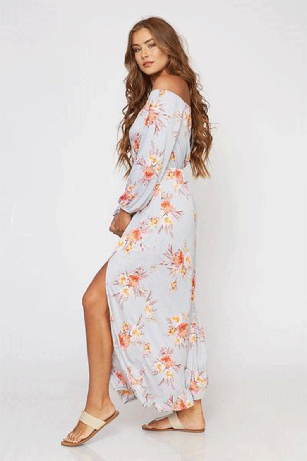 Peach Love Gray Floral Off The Shoulder Maxi - Front Full Image