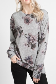 12pm by Mon Ami Gray Floral Sweater - Product Mini Image