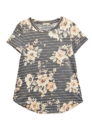 12pm by Mon Ami Gray Floral Top - Product Mini Image