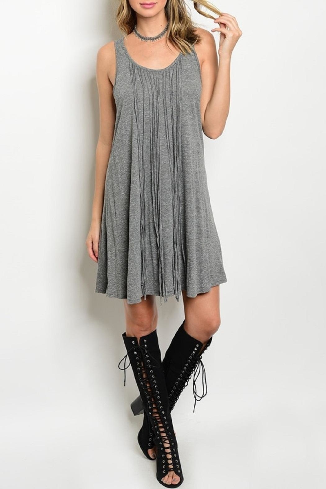 Adore Clothes & More Gray Fringe Dress - Main Image