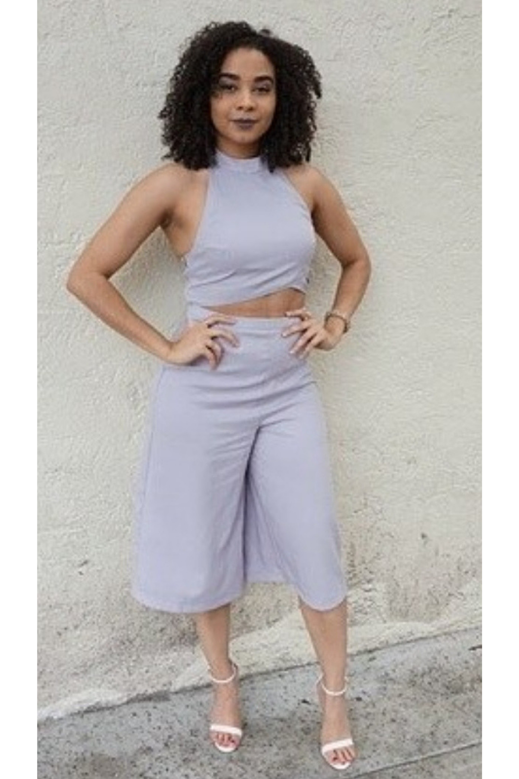 L'atiste Gray Halter Pants Set - Front Cropped Image