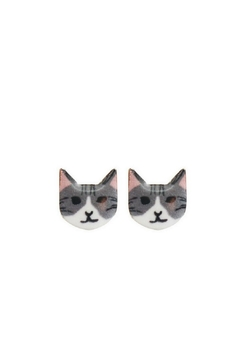 Mimi's Gift Gallery Gray Kitty Studs - Product List Image
