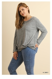 Umgee Gray Knot Top - Product Mini Image