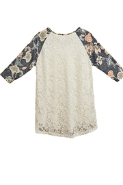 honeyme Gray Lace Top - Front full body