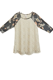 honeyme Gray Lace Top - Front cropped