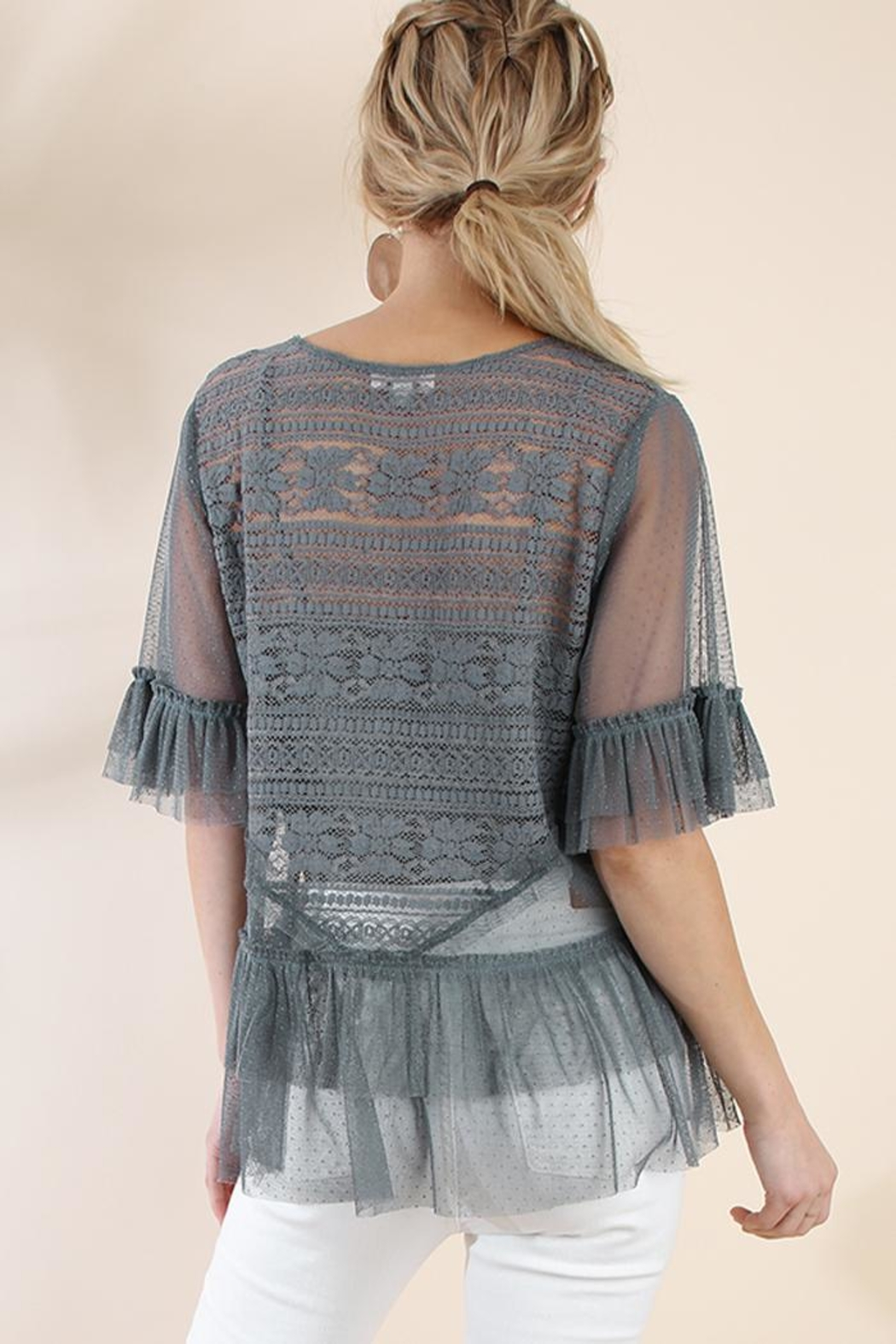 The Vintage Valet Gray Lace Top - Front Full Image